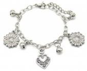 F-E5.3 B2053-015 S. Steel Bracelet Heart and Flowers 14-17cm For Kids