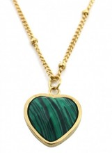 B-E18.1 N1934-009 Stainless Steel Necklace with 20mm Heart with Malachite Gold
