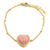 B-F8.3 B1934-009 Stainless Steel Bracelet with 20mm Heart with Rose Quartz Gold