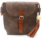 Y-E4.3 BAG535-002B PU Crossbody Bag with Tassel 20x18x6.5cm Brown