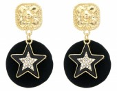 B-E22.1 E1631-029A Earrings Star with Crystals 4.5x2.5cm Gold