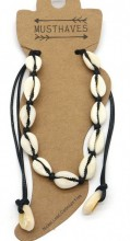G-A2.1 ANK2001-001A Anklet with Shells Black