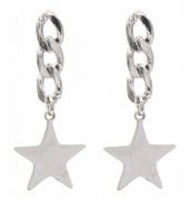 B-A2.1 E010-007S S. Steel Earrings Chain with Star 3.5x1.5cm