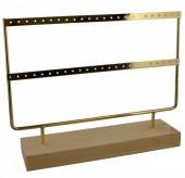 Z-F4.5 PK424-003 Wood with Metal Earring Display 27x22x7cm Chrome Gold