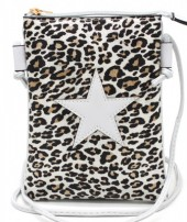 T-M1.1 BAG326-002 PU Festival Crossbody Bag Leopard with Star 20x15cm Grey