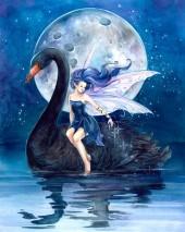 Y-F2.3 X355 Diamond Painting Set Black Swan 40x30cm