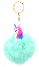 S-I8.2 KY2035-034I Fluffy Keychain Unicorn 8x3cm Blue