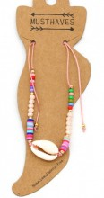 F-E21.2  ANK221-013 Anklet with Beads and Shell Pink