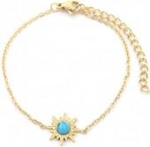 B-D4.2  B2004-001G S. Steel Bracelet 12mm Sun with Stone Gold