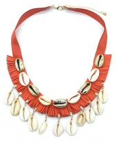 E-F10.2 N538-003 Rope Necklace with Shells Brique