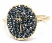 B-F3.5  R532-003G Adjustable Ring Cross with Crystals Gold