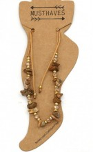 E-F18.2 ANK221-017 Anklet with Stones Brown
