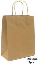 R-O6.2 PK525-003B Paper Giftbag 27x12cm Brown 12pcs