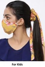 R-C3.2 Face Mask with Scrunchie Set - Washable - Flower - Orange for Kids