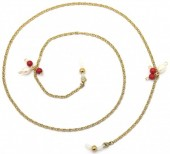 B-D23.1 SGL021 Stainless Steel Sunglass Chain Pearls Gold