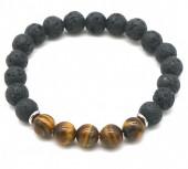 E-B18.3 B1639-017 Bracelet Lava Stone-Tigers Eye 8mm Black-Brown